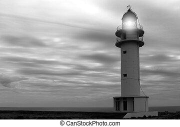 Barbaria cape lighthouse Formentera Balearic islands black...