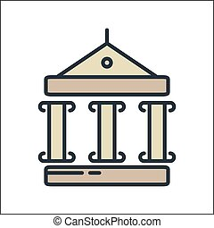 museum icon color illustration design
