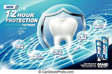 antibacterial toothpaste ad, contained in blue tube,...