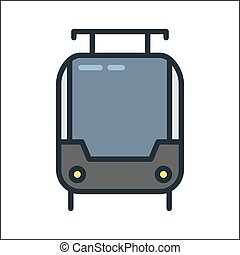 tramway icon color illustration design