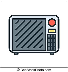 microwave icon illustration design color