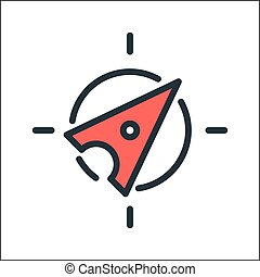 compass icon color illustration design