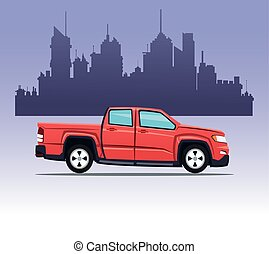 red pick up double cab city background vector illustration...