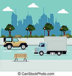 vehicles street city with park background