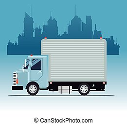 truck commercial service urban background