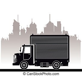 silhouette truck commercial service urban background