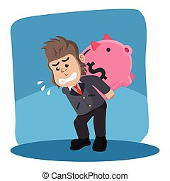 business gorilla carrying giant piggybank