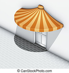 semicircle awning orange stripe - 3d illustration render,...