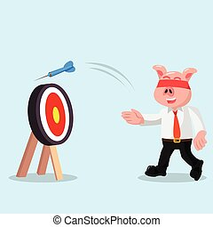 business pig missed the target with eye closed