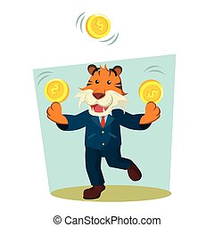 business tiger juggling coin