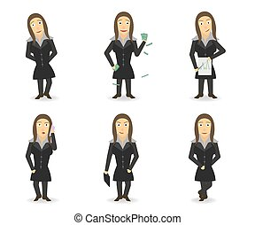 BusinessWoman - A Little Crazy Business wooman. Set. 6...