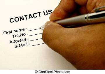 contact us - Just a contact us Isolated on a white...