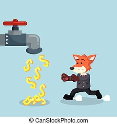 business fox with money faucet