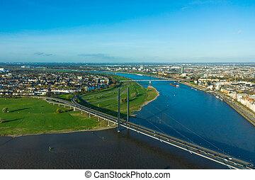 Aerial view of Dusseldorf city in North Rhine-Westphalia...