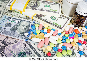 drugs on a money background. Money and pills