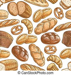 Bakery bread and pastry dessert seamless pattern