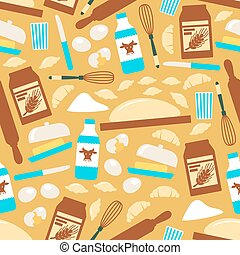 Baking and cooking tools seamless pattern