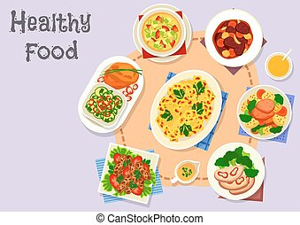 Diet menu icon with vegetable and meat dishes - Diet dishes...
