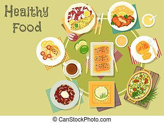 Cheese, fish dishes icon for healthy food design - Cheese...