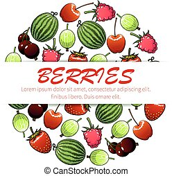 Berry fruit poster for food and drink design - Berry fruit...
