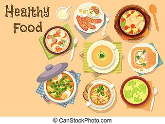 Soup dishes icon for healthy lunch menu design - Healthy...