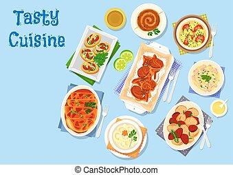 Piatti, patata, cibo,  menu, cena, disegno, icona