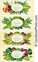 Fresh lettuce and green salad leaves banner set - Green...