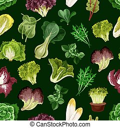 Leaf vegetable, salad greens seamless pattern - Leaf...