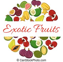 Exotic fruit circle poster for healthy food design - Exotic...