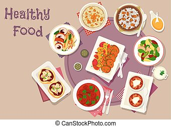 Dinner dishes with dried fruits icon - Tasty dinner with...
