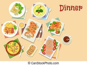 carne, Piatti, patata,  menu, Pranzo, disegno, icona