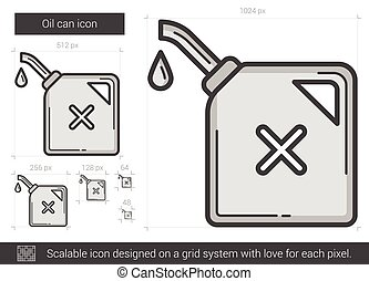 Oil can line icon. - Oil can vector line icon isolated on...