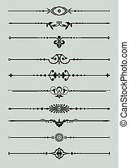 Ornamental vector Lines. - Rule Line and Ornament Set....