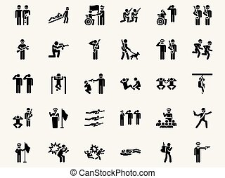 Stick figures Military pictograms. Vector Monochrome...