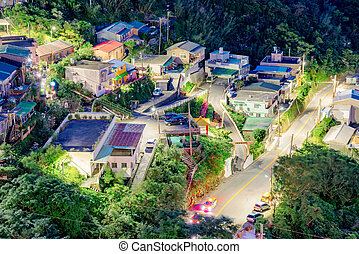 Aerial view of Jiufen townhouses - View of Jiufen townhouses...