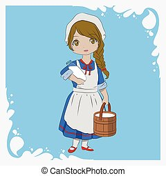 Milkmaid Carrying a Wooden Pail of Milk and a Bottle of Milk...