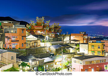 Night view of Jiufen architecture in Taiwan