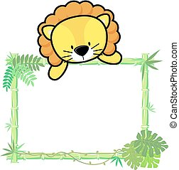 baby lion bamboo frame