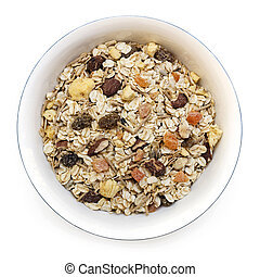 Bowl of Muesli Isolated on White Top View - Bowl of muesli...