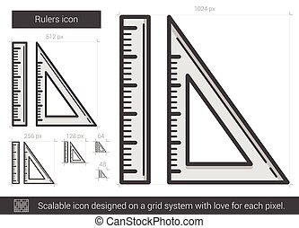Rulers line icon. - Rulers vector line icon isolated on...