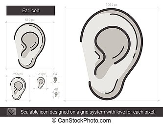 Ear line icon. - Ear line icon for infographic, website or...