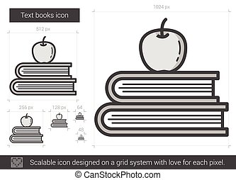 Text books line icon. - Text books vector line icon isolated...