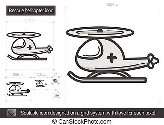 Rescue helicopter line icon. - Rescue helicopter vector line...