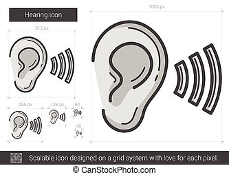 Hearing line icon. - Hearing line icon for infographic,...