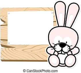 cute baby rabbit frame - illustration of cute baby bunny on...