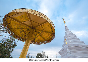 Wat Phra That Khao Noi temple - Golden and White pagoda in...