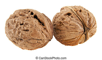 walnuts isolated on white background closeup