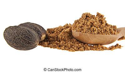 nutmeg isolated on white background closeup