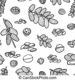 patrón, mano, nueces,  seamless,  sketched
