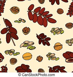 seamless pattern hand sketched nuts